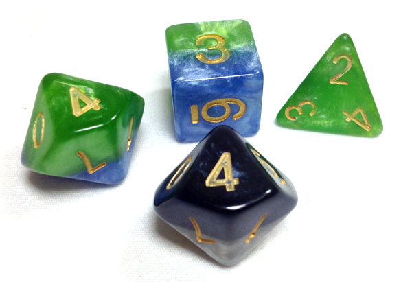 Halfsies dice close up